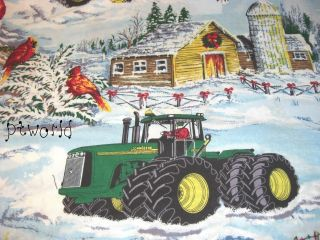 John Deere Tractor Blue Snow Red Cardinal Christmas Soft Cotton Bt½yd