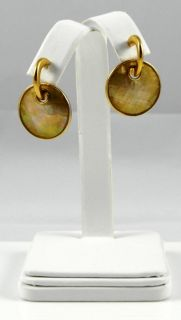 LIA SOPHIA TAOS SIGNED EARRINGS GOLD PLATED & MOTHER OF PEARL Drop 1