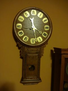 Carved 36 Solid Oak Regulator Wall Clock by John w Bennett