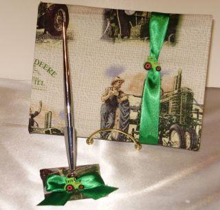 Sale Custom Guest Book Pen John Deere Print Green Tractor Trim
