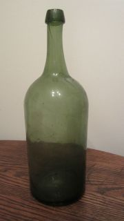 1800s green liquor wine decanter demi john glass flask bottle handmade