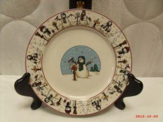 Set of 2 Snowman Serenade 7 3 4 Plates Cambridge Pottery