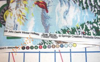 John Deere Tractor Blue Snow Red Cardinal Christmas Soft Cotton Bt½yd