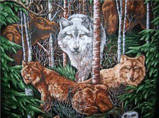 New Wolf Bear Fabric Panel Owl Bunny Wildlife Bird