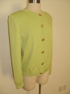 St John Sport Lime Green Santana Knit Logo Button Front Cardigan