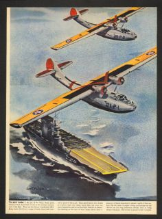 1940 John T McCoy Jr Flying Boat Art Magazine Print