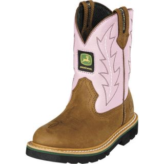 John Deere Youth Wellington Kids Cowboy Boot Brown Pink JD3185