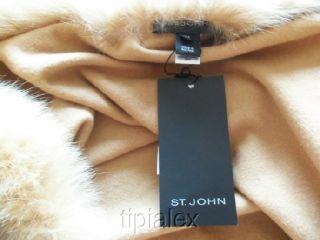 New St John Fox Fur Trimmed Camel Wool Cashmere Cape Coat Sz s M L XL