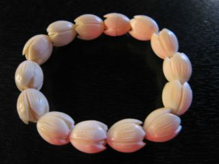 Antique Faux Ivory Carved Pikake Bracelet Possibly John Roberts