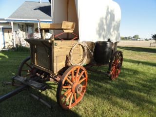 Horse Drawn Chuck Wagon VG Wood Wheels Useable John Deere Tongue