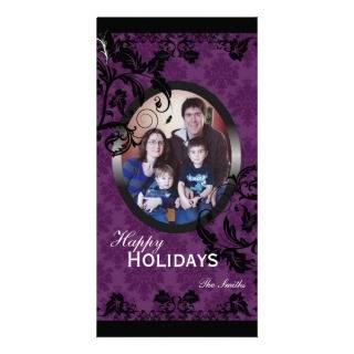 Happy Holidays Family Photo Card   Purple & Black