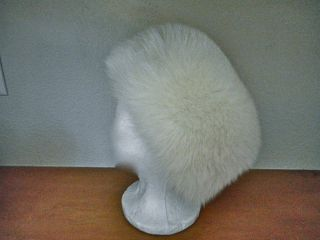 ST JOHN KNIT FOX FUR HAT UNWORN NIB 22 4 DEEP WHITE DRESS COAT SUIT CHRISTMAS |