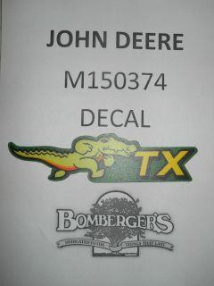 John Deere TX Gator Decal Below Serial Number 50000 M150374