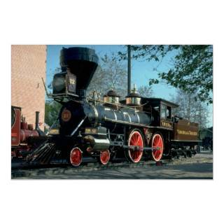 V & T Railroad Vintage Steam Locomotive Poster
