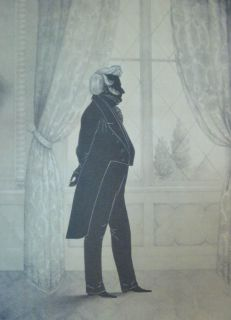 Antique William Brown Lithograph Print Silhouette Portrait of John Forsyth
