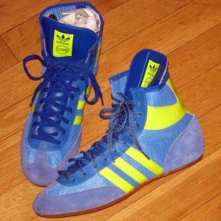 Vintage Adidas Wrestling Shoes West Germany Blue Yellow Greco Roman Nice RARE