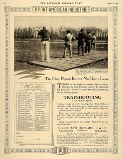 1918 Ad Du Pont Trap Shooting John Burnham Clay Pigeon Original Advertising