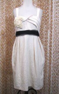 DELETTA Anthropolgie Womens Fabulous Textured Ivory Cotton Party Dress sz S