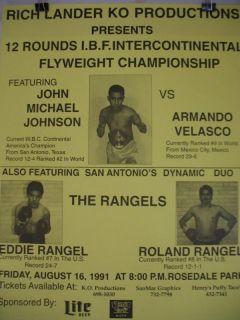 1991 JOHN MICHAEL JOHNSON vs ARMANDO VELASCO On Site Boxing Poster SAN ANTONIO
