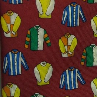 John Comfort Horse Racing Jockey Colorful Silk Jersey Red Blue Neck Tie Necktie