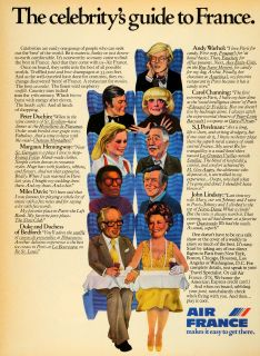 1976 Ad Air France Airlines Peter Duchin John Lindsay Andy Warhol Caricatures
