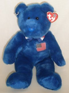 "Ty Inc Large Blue Plush ""John"" Adams Teddy Bear 2006"