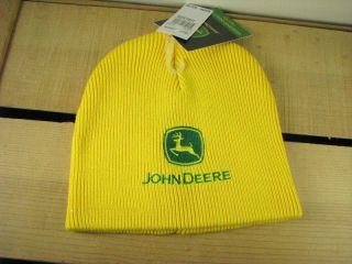 New John Deere Knit Beanie Stocking Cap Hat Yellow Green Genuine