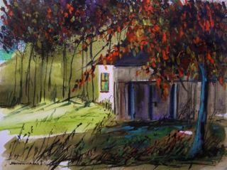 Fall Landscape Original WATERCOLOR Painting JMW art John Williams Impressionism