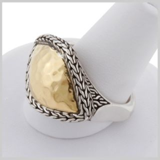 138442 JOHN HARDY 22K Hammered Gold Silver East West Diagonal Ring Size 7