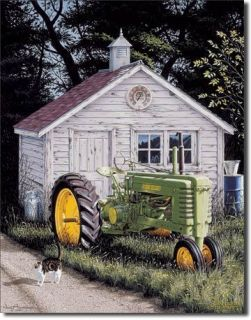 John Deere Popper Tin Sign Farm Tractor B Vintage 1121