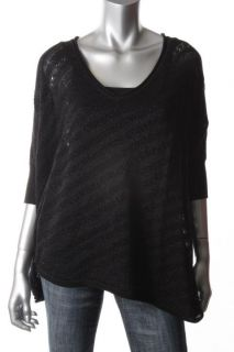 John Paul Richard Black Metallic Dolman Sleeves V Neck Pullover Top Shirt L