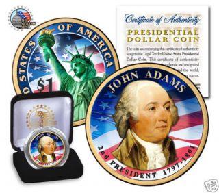 Colorized John Quincy Adams US Presidenial Dollar Coin |