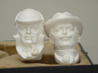 SMS Sherlock Holmes and Dr Watson Meerschaum Pipes RARE Matched Set C 1980s