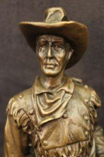 ORIGINAL MILO COWBOY JOHN WAYNE MARSHALL BRONZE SCULPTURE MARBLE BASE WESTERN NR