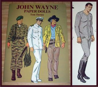 1980 Vintage John Wayne Western Star Uncut Paper Dolls Book Tom Tierney Mint