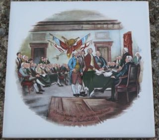 Vtg Lanka John Trumbull Declaration of Independence Tile Decor Ceramic Wall 6""