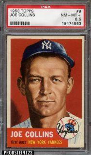 1953 Topps 9 Joe Collins New York Yankees PSA 8 5 NM MT CENTERED LOW POP
