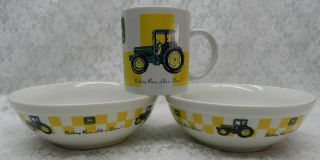 3 John Deere Gibson China Dinnerware 2 Bowls 1 Coffee Mug Cup
