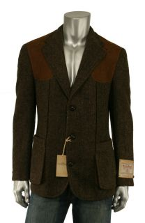 Ralph Lauren RRL Brown Harris Tweed Wool Suede Blazer Jacket New $1200