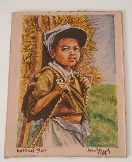 "1956 Vintage ""Korean Boy"" John Stevens Acrylic Oil Painting Outsider Folk Art"