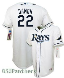 Johnny Damon Authentic Collection Tampa Bay Rays Youth Home Jersey Sz M XL