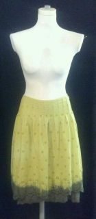 JOHNNY WAS JWLA Green Ombre Eyelet Aline Skirt Cotton Fitted To Hips Hippie CHIC