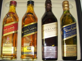 Johnnie Walker Scotch RARE Whisky Collection 1oF Each Red Black Gold Blue Label