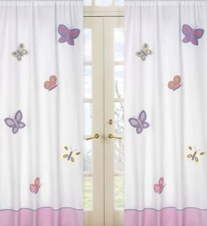 SWEET JOJO PINK PURPLE BUTTERFLY KID WINDOW TREATMENT PANELS CURTAINS COVERINGS