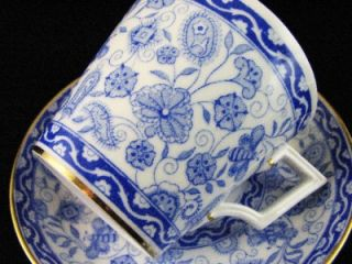 Royal Crown Derby Wilmot Demitasse Cup Saucer Blue Floral Butterfly Gold Trim
