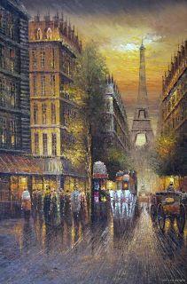 Paris Sunset 1800's Eiffel Tower Large Oil Painting Art