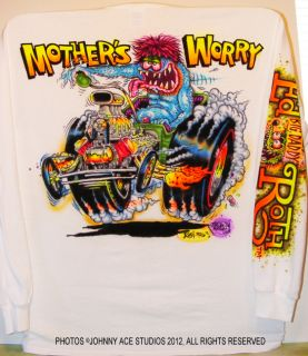 Johnny Ace Art Airbrushed T Shirt Rat Fink Ed Big Daddy Roth Mother's Worry Drag