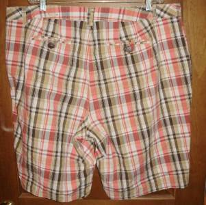 Womens Size 22 pink tan brown plaid shorts Lane Bryant brand
