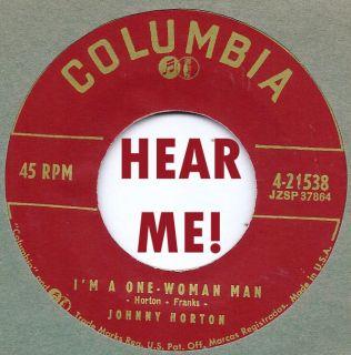 Rockabilly Johnny Horton I'M A One Woman Man I Don'T Like I Did Columbia