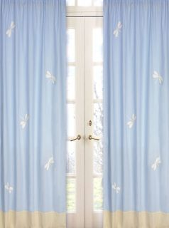 Sweet JoJo Designs Blue Dragonfly Kid Window Treatment Panels Curtains Coverings